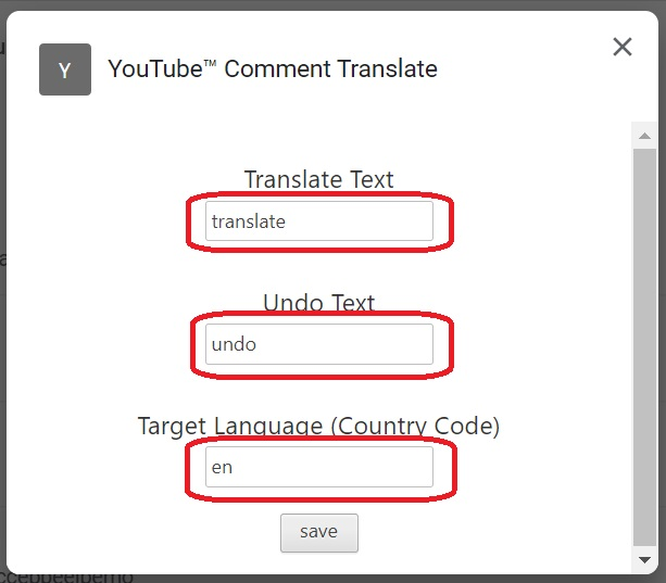 YouTube Comment Translateの設定2